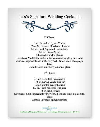 cocktail menu examples wedding cocktail design custom designed