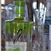 G'Vine Gin and Esprit de June liqueur, both featured in cocktails at our table.